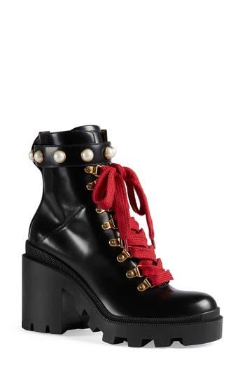 Gucci Trip Imitation Pearl Boot, Black