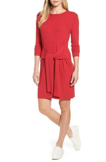 Velvet By Graham & Spencer Ribbed Tie-Waist Sweater Dress, Red