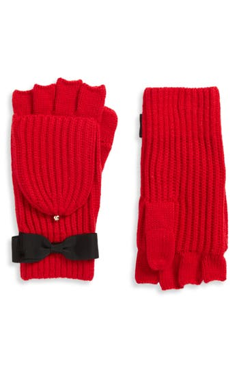 Kate Spade New York Grosgrain Bow Convertible Knit Mittens, Size One Size - Red