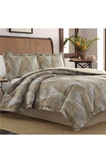 Tommy Bahama Raffia Palms Comforter & Sham Set, Size Queen - Grey