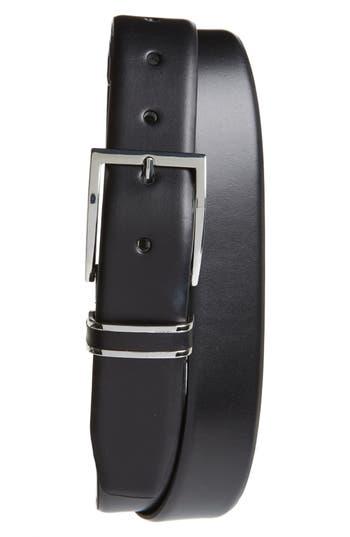 Big & Tall Nordstrom Shop Lynden Leather Belt, Black