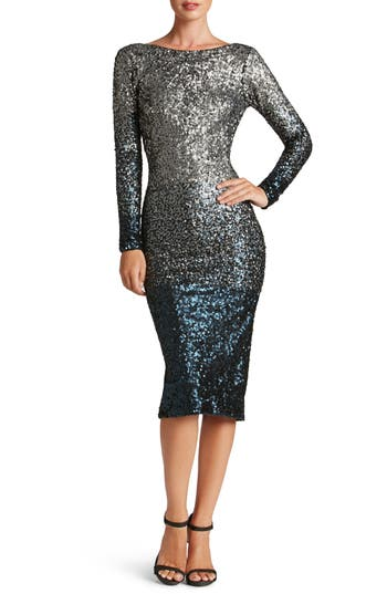 Dress The Population Emery Ombre Sequin Body-Con Dress, Blue