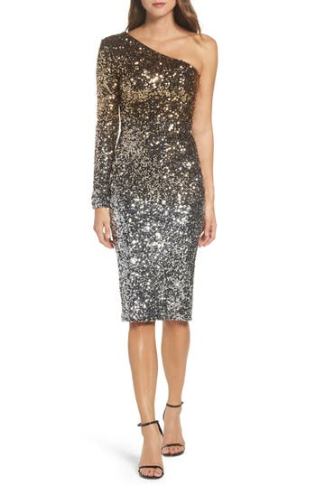 Dress The Population Chrissie One-Shoulder Ombre Sequin Sheath Dress, Metallic