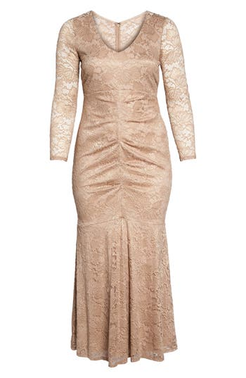 Plus Size Marina Foil Lace Ruched Mermaid Gown, Beige