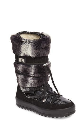 Jog Dog Kitzbuhel Faux Fur Waterproof Quilted Boot, Black