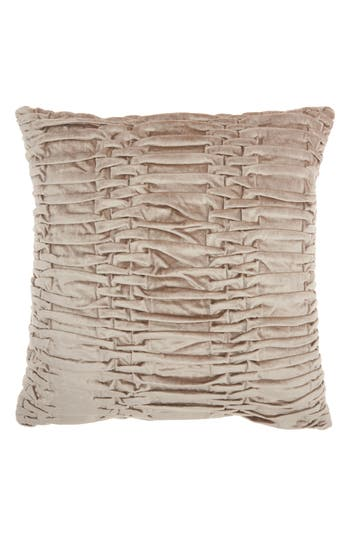Mina Victory Pleated Velvet Accent Pillow, Size One Size - Beige