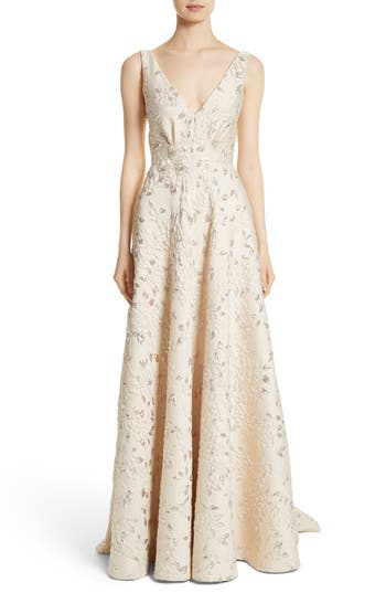 Carmen Marc Valvo Couture Reembroidered Cloqué Gown