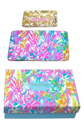Lilly Pulitzer Set Of 2 Ceramic Trinket Trays, Size One Size - Pink