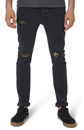 Topman Camo Patch Skinny Jeans, Black