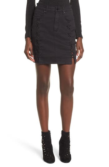 Afrm Lace-Up Denim Skirt, Black