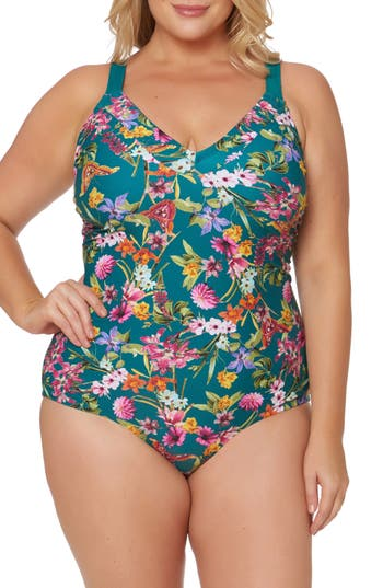 Plus Size Jessica Simpson Floral Print Tie Back One-Piece Swimsuit, Green
