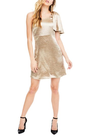 Astr The Label Crystalyn One Shoulder Minidress, Beige