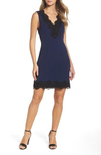 Charles Henry Lace Trim Sheath Dress, Blue