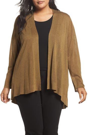 Plus Size Eileen Fisher Shaped Tencel & Merino Wool Cardigan, Green