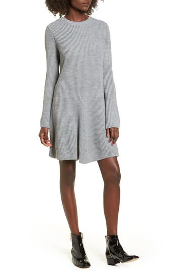 Cotton Emporium Flared Sleeve Sweater Dress, Grey