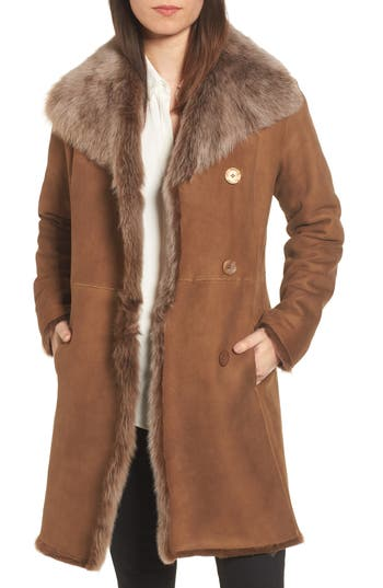 Hiso Genuine Toscana Shearling Coat, Brown