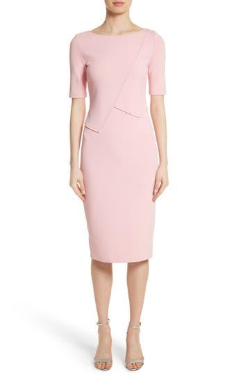 St. John Collection Luxe Sculpture Knit Sheath Dress, Pink