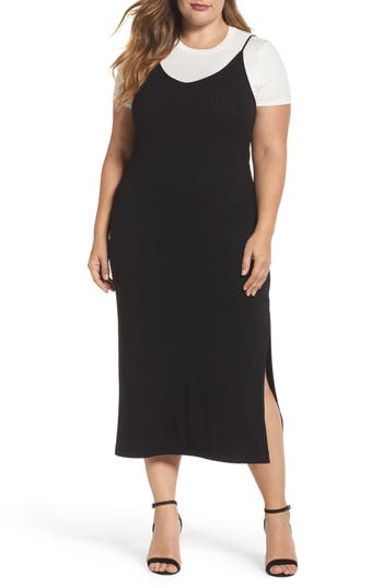 Plus Size Women's Soprano Layered Tee & Midi Slipdress, Size 1X - Black