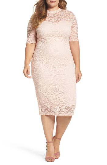 Plus Size Women's Soprano Lace Body-Con Midi Dress, Size 1X - Pink