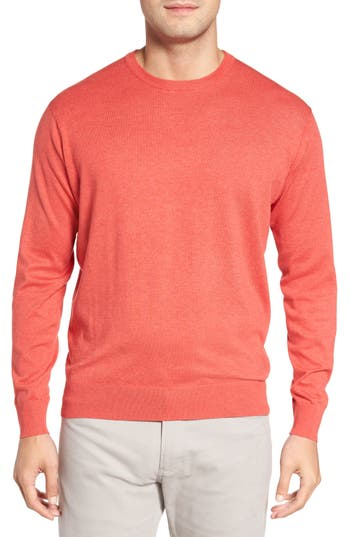 Peter Millar Crown Soft Cotton & Silk Sweater, Red