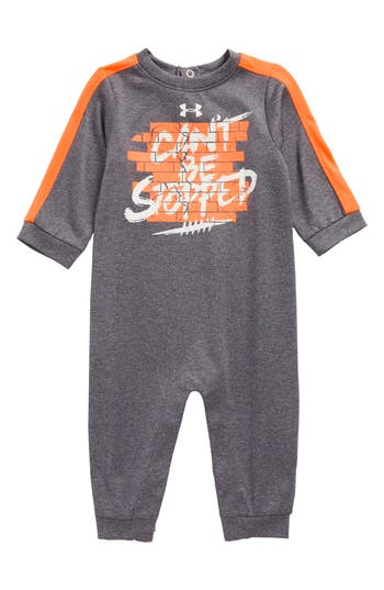 Infant Boy's Under Armour Can'T Be Stopped Romper, Size 0-3M - Grey