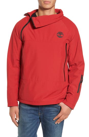 Men's Timberland Asymmetrical Water-Repellent Funnel Neck Pullover, Size Small - Red