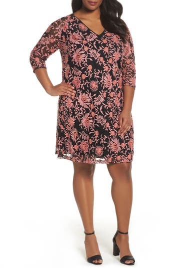 Plus Size Adrianna Papell Marrakesh Embroidered Trapeze Dress, Pink
