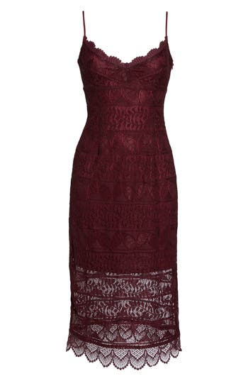 Women's Nsr Floral Lace Slipdress, Size Small - Burgundy
