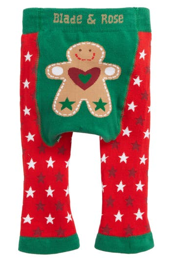 Infant Blade & Rose Gingerbread Man Leggings, Green