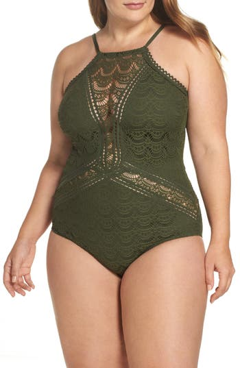 Plus Size Becca Etc. One-Piece Swimsuit, Green