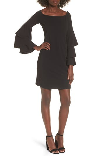 Bp. Ruffle Sleeve Off The Shoulder Dress, Black