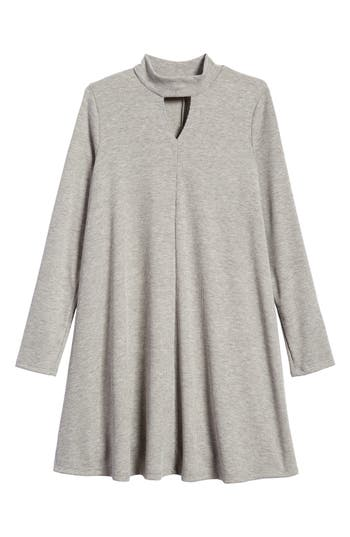 Girl's Soprano Mock Neck Knit Dress, Size S (8-10) - Grey