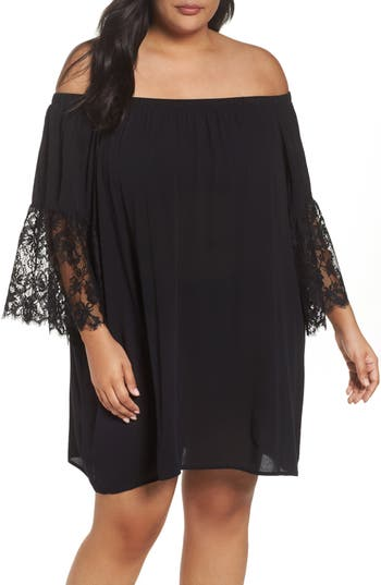 Plus Size Chelsea28 Off The Shoulder Cover-Up, Black