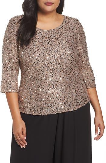Plus Size Women's Alex Evenings Sequin Top, Size 1X - Beige