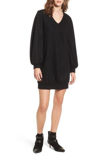 Everly Balloon Sleeve Sweater Dress, Black