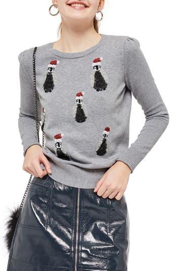 Women's Topshop Sequin Penguin Sweater, Size 2 US (fits like 0) - Grey
