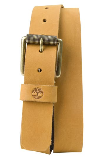 Men's Timberland Leather Belt, Size 34 - Wheat
