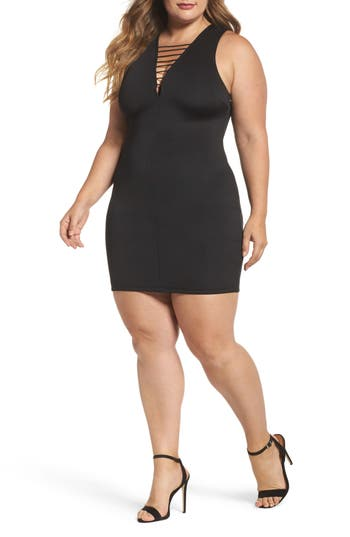 Plus Size Women's Soprano Strappy Body-Con Dress, Size 3X - Black