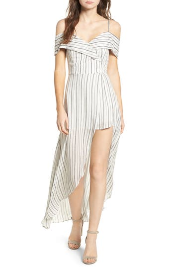 Women's Soprano Cold Shoulder Maxi Romper, Size X-Small - Ivory