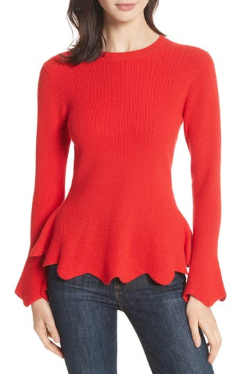Women's Ted Baker London Peplum Sweater, Size 0 - Red