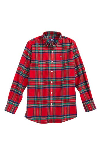 Boy's Vineyard Vines Jolly Plaid Flannel Shirt, Size S (8-10) - Red