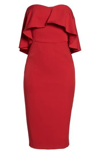 Chelsea28 Ruffle Stretch Crepe Sheath Dress, Red