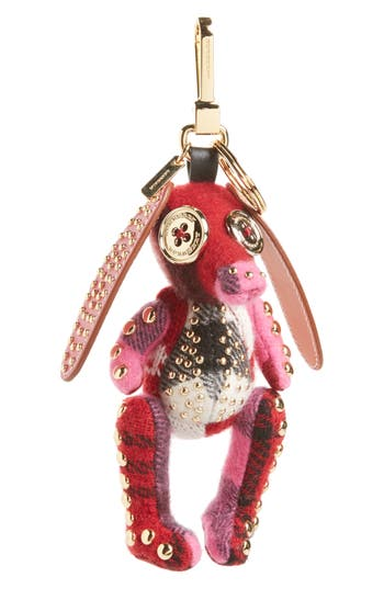 Burberry Basset Hound Studded Cashmere & Leather Bag Charm - Pink