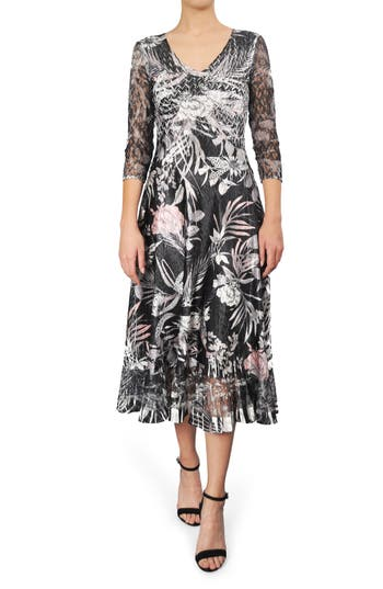 Komarov Print Charmeuse A-Line Midi Dress, Black