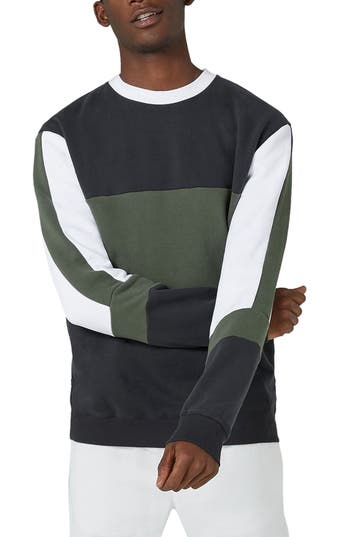 Topman Color Block Sweatshirt, Blue