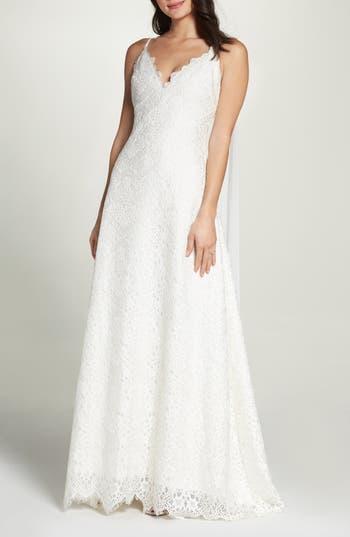 Foxiedox Chiffon Sash Scalloped Lace Gown, Ivory