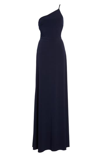 Amsale Jersey One-Shoulder Gown, Blue