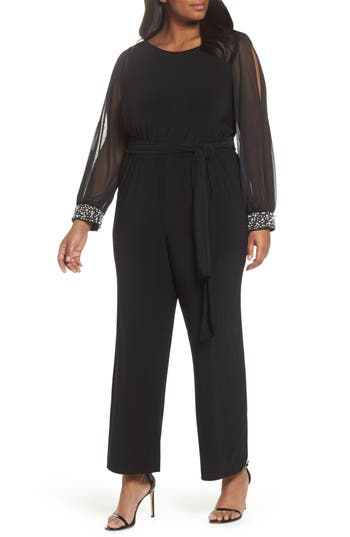 Plus Size Womens Marina Embellished Cowl Back Jumpsuit Size 14W  Black