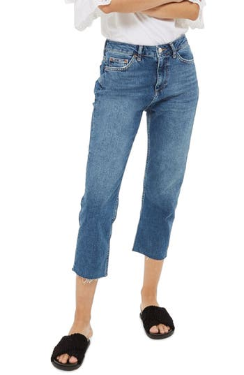 Petite Women's Topshop Raw Hem Straight Leg Jeans at NORDSTROM.com