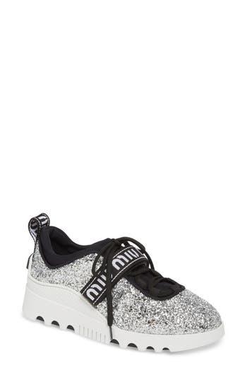 Miu Miu Logo Strap Platform Sneaker, Metallic